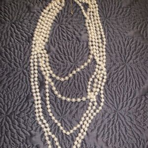 Long layered white pearl flapper necklace